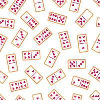 Seamless pattern of domino bone cookies with hearts for Valentine's Day. Vector flat design isolated on white background