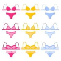 Set of different type and color of women's lingerie panties and bras. vector