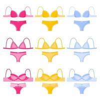 Conjunto de diferentes tipos y colores de bragas y sujetadores de lencería femenina. vector