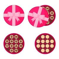 Round pink box of chocolates for Valentine's Day. vector