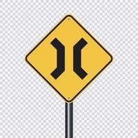 Approaching narrow bridge sign vector