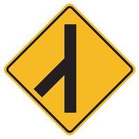 Warning signs Skewed side road junction on left on white background vector