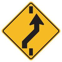 Warning signs Shift to right carriageway on white background vector
