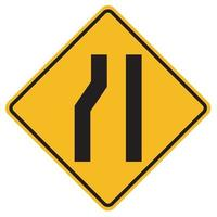 Warning signs Road narrows on left side on white background vector