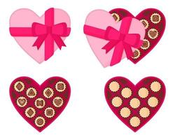 Heart-shaped pink box of chocolates for Valentine's Day. vector