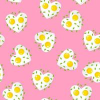 Seamless pattern with fried eggs and greens in the shape of a heart, breakfast for Valentine's Day. vector