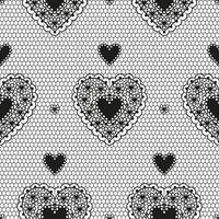 Seamless pattern of black guipure with hearts for a wedding or Valentine's Day. vector