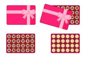 Rectangular pink box of chocolates for Valentine's Day. vector