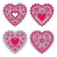 conjunto de corazones de encaje de papel para boda de elemento de diseño o tarjetas de San Valentín, invitaciones, etc. diseño plano vectorial. vector