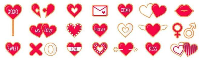 Set of gingerbread cookies with lettering love for Valentine's Day. Vector flat icon design isolated on white background