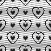 Seamless pattern of black lace with hearts for a wedding or Valentine's Day. vector