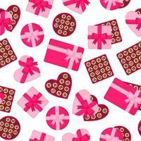 patrón sin fisuras con cajas rosas de chocolates de diferentes formas para el día de San Valentín u otras vacaciones. vector