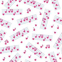 Seamless pattern of heart-shaped notes and stave for the wedding or Valentine's Day. vector