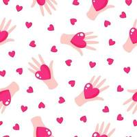 Seamless pattern of hands and hearts for the wedding or Valentine's Day. vector