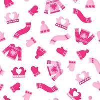Patrón sin fisuras de ropa acogedora de invierno, sombrero, suéter, bufanda, guantes para la boda o el día de San Valentín. vector