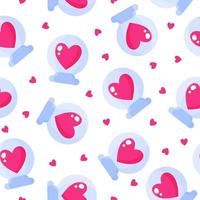 Seamless pattern of glass ball with heart for the wedding or Valentine's Day. vector