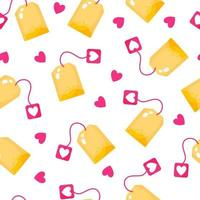 Seamless pattern of tagged tea bag for the wedding or Valentine's Day. vector