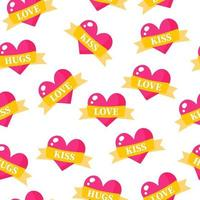 Seamless pattern of hearts with ribbons and inscriptions for the wedding or Valentine's Day. vector