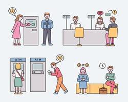 empleados y clientes bancarios. Ilustración de vector mínimo de estilo de diseño plano.