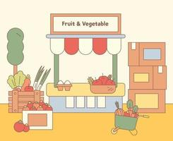 A fruit vegetable store's box is full of produce. flat design style minimal vector illustration.