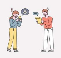 People amazed at the mail and receipts. flat design style minimal vector illustration.