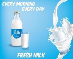 Cristalería de leche fresca sobre fondo aislado vector