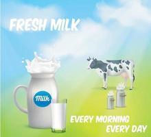 Fondo de colores con vaca y leche fresca. vector