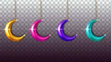 set collection moon realistic vector