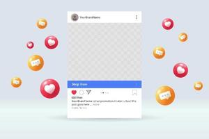 Social media page mockup with like and comment bubble flying vector