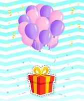 Hanging Gift Box With Bunch of Balloons vector