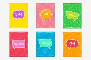 Comic Style Colorful Speech Cards, Sticker Set vector