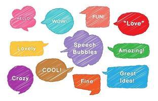 Sketch Style Speech Bubble Set vector