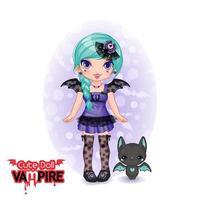 linda muñeca vampiro chibi girl vector