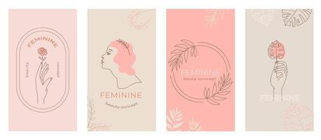 Linear abstract feminine emblems set, hands in different gestures, woman silhouette for cosmetic packaging beauty product branding, social media stories abstract modern background in pastel color vector