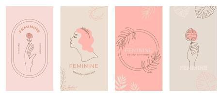 Conjunto de emblemas femeninos abstractos lineales, manos en diferentes gestos, silueta de mujer para envases cosméticos, marca de productos de belleza, historias de redes sociales, fondo moderno abstracto en color pastel vector