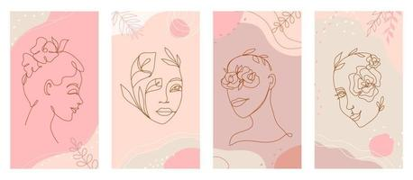 Linear women face and flowers in one line organic style logo vector set