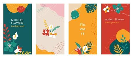 Abstract flowers Social media stories organic backgrounds set with modern color combinations, shapes, flowers and plants, monstera leaves, vertical format. vector