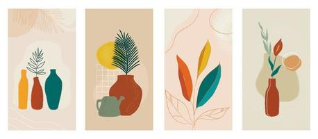 Social media stories set of abstract modern backgrounds with plants in pot. Pastel color combinations, shapes and tropical palm, leaves, lines. vector