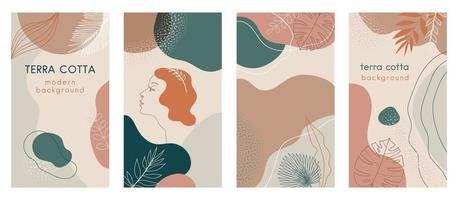 Social media stories set of abstract modern backgrounds with terra cotta pastel color combinations, shapes and tropical palm , monstera leaves, one line women face logo icon. vector