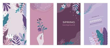 Abstract flowers Social media stories organic spring backgrounds set with modern color combinations, shapes, flowers, plants and hand, vertical format For advertising, branding vector illustration.