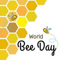 World Bee Day Banner Template background with bees on the honeycomb. vector