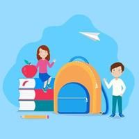 school children, books, backpack, apple, pencil, boy and girl student with study supplies. Back to school banner template with a modern abstract background.