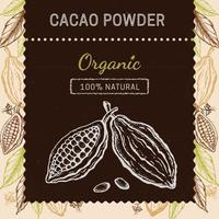 Cocoa packaging design template. Engraved style sketch hand drawn illustration. Cacao powder, beans, nuts, seeds, flowers and leaves vector. vector