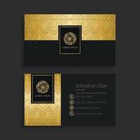 Elegant Golden Geometric Business Card Template vector