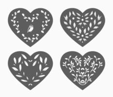 Floral hearts. Valentine's day graphic. vector