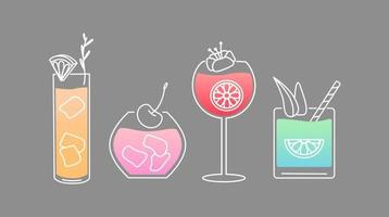 Graphic cocktails set. Cocktail icons. vector