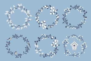 Set of floral wreaths. Vector illustration.