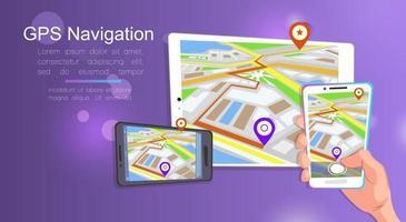diseño de estilo plano de plantilla de banner web para sitio web o infografía, sistema gps de navegación móvil, ubicación de destino, encuentre la manera correcta. ilustración vectorial. vector