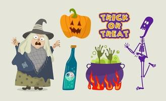 Collection of hand drawn Halloween elements. vector