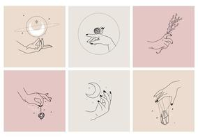 Hands in different gestures. Vector emblems. Feminine symbols for beauty products.